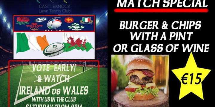 Ireland vs Wales Rugby and Evening Food Menu
